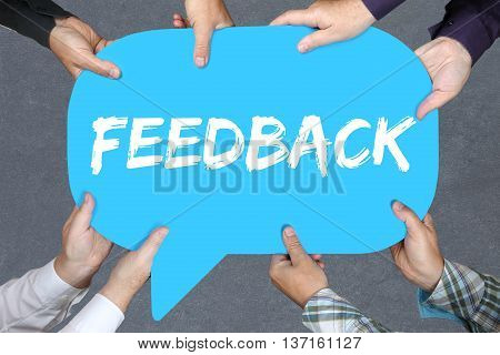 Group Of People Holding Feedback Contact Customer Service Opinion Survey Business Concept Review