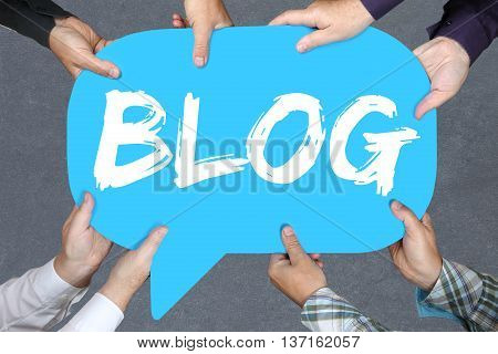 Group Of People Holding Blog Writing Blogger Online Concept