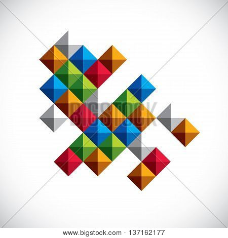 Vector abstract art symbol made with squares modern style graphic element. Asymmetric figure created from squares and blocks can be used in corporate design.
