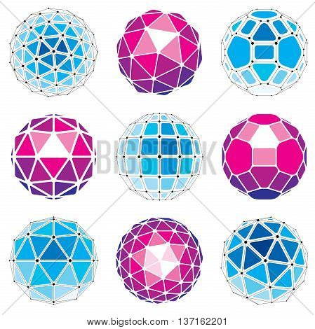 3d vector digital wireframe spherical objects made using different geometric facets. Polygonal orbs created with lines mesh. Low poly shapes collection lattice forms for use in web design.