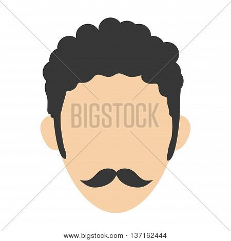 simple flat design man with curly hair and mustache avatar icon avatar icon vector illustration