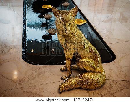 Golden Wolf Statue
