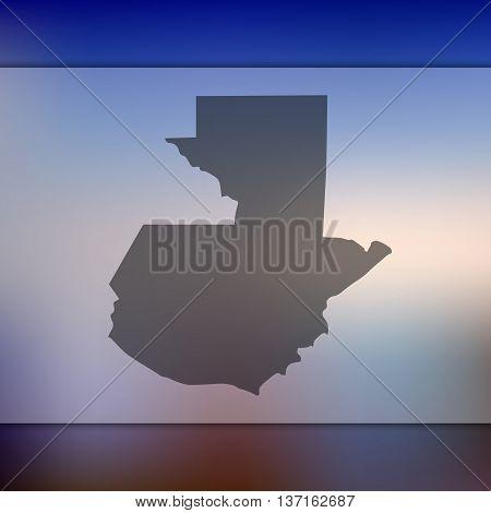 Guatemala map on blurred background. Blurred background with silhouette of Guatemala. Guatemala.