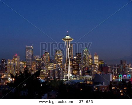 Seattle And Space Needle At Night