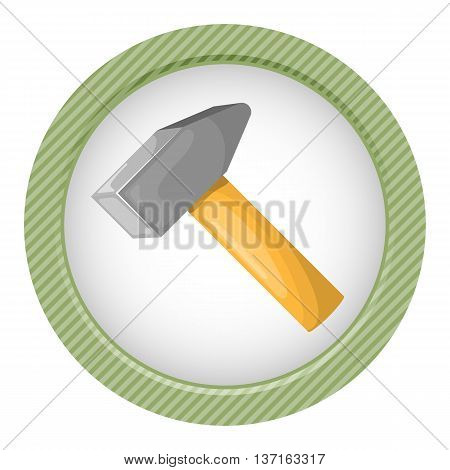 Colorful icon of hammer. Vector illustration in cartoon style