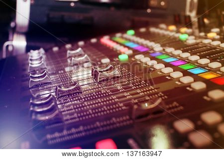 background of audio mixer with vivid light