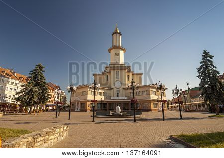 The center of Ivano-Frankivsk city Ukraine in summer 2016. The City Hall Building in the Art Deco style was built in 1935