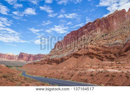 Road through Capitol Reef National Park Utah United States