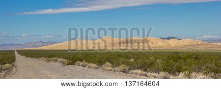 Panorama of Kelso sand dunes in the Mojave National Preserve USA