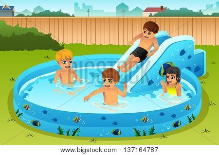 A vector illustration of children playing in inflatable pool in backyard