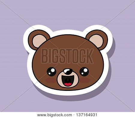 bear character kawaii isolated icon design, vector illustration  graphic