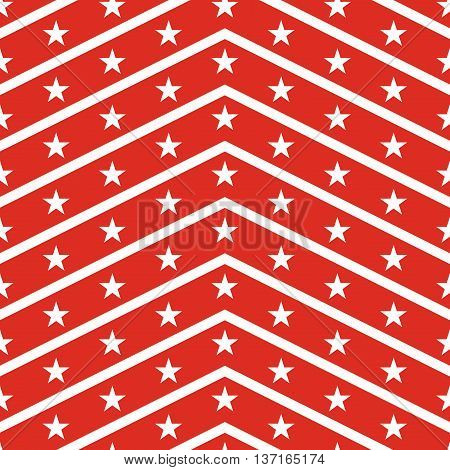 Patriotic USA seamless pattern. American flag symbols and colors. Background for 4th july USA independence day. White zigzag stripes and stars on red backdrop.