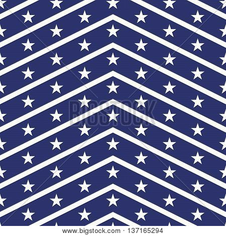 Patriotic USA seamless pattern. American flag symbols and colors. Background for 4th july USA independence day. White zigzag stripes and stars on blue backdrop.