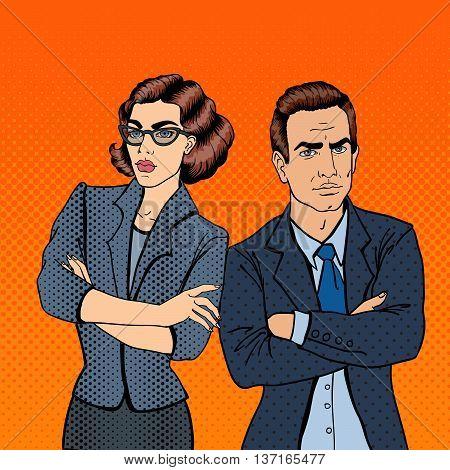 Misunderstanding at Work. Confrontation Between Businessman and Businesswoman. Pop Art. Vector illustration