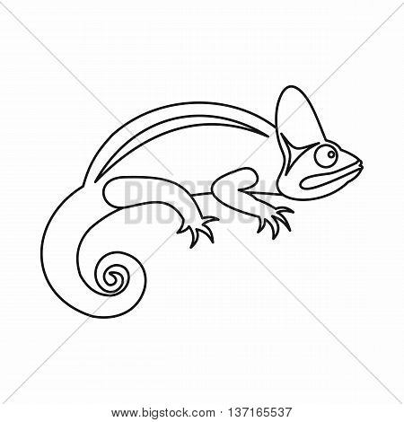 Chameleon icon in outline style isolated vector illustration. Reptiles symbol