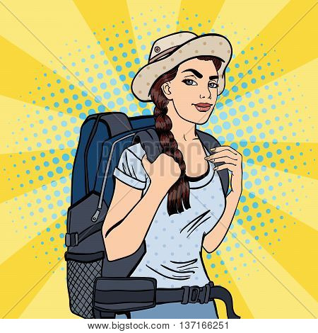 Young Woman with Backpack. Female Tourist Backpacker. Pop Art. Vector illustration