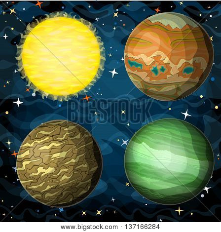 Set of cosmic planets in outer space. Vector cartoon style