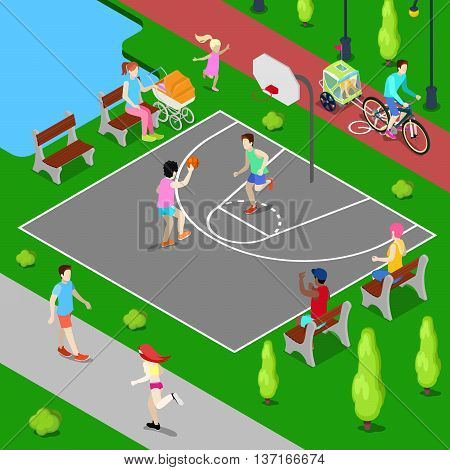 Isometric Basketball Playground. Sporty People Playing Basketball in the Park. Vector illustration