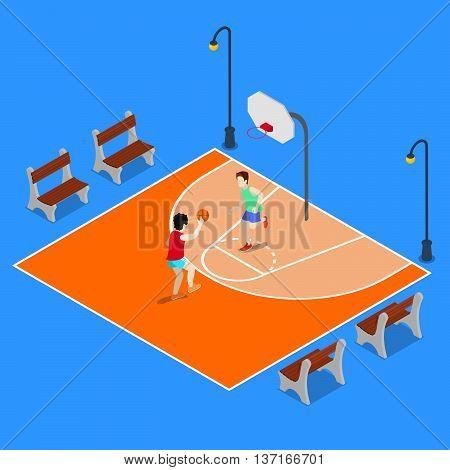 Isometric Basketball Playground. Sporty People Playing Basketball. Vector illustration