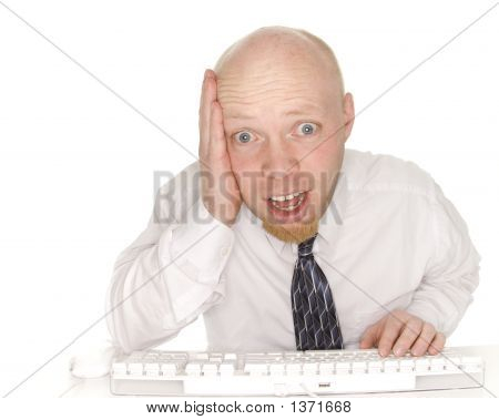 Screaming Business Man Viewing Computer,