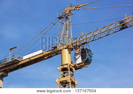 Close Up Of Yellow High Hift Heavy Duty Crane