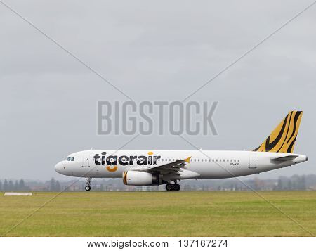 Sydney - February 26 2016: A passenger Airbus A320-232 Tiger Airways Australia takes off on runway at Sydney Airport February 26 2016 Sydney Australia