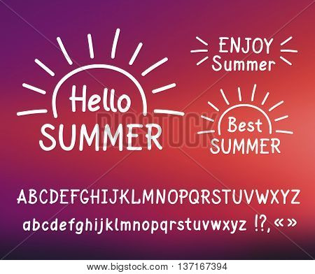 Vector hand-drawn letters. Sans serif. Uppercase and lowercase letters. Doodle type. White print on blurred background. Hello summer