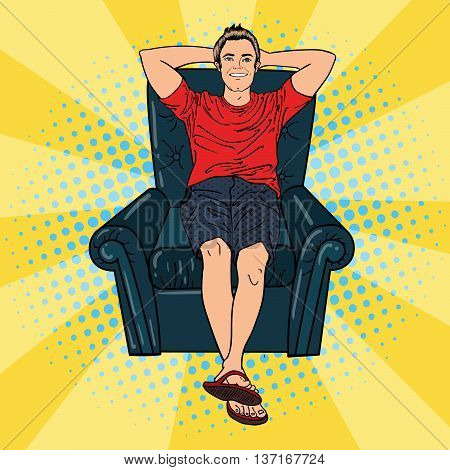 Happy Man Relaxing in Comfortable Chair. Pop Art. Vector illustration