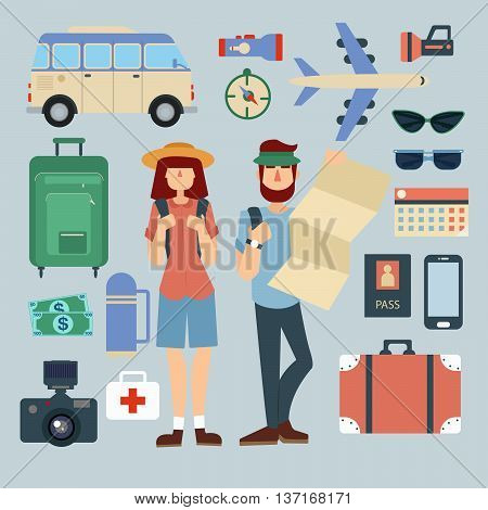 Tourist Man and Woman with Set of Travel Elements. Active People. Vector illustration