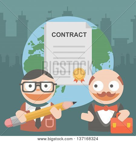 Vector clipart two businessman signs a contract on cooperation