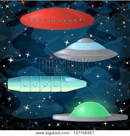Set of ufo spaceships in comic cartoon style. Vector illustration.