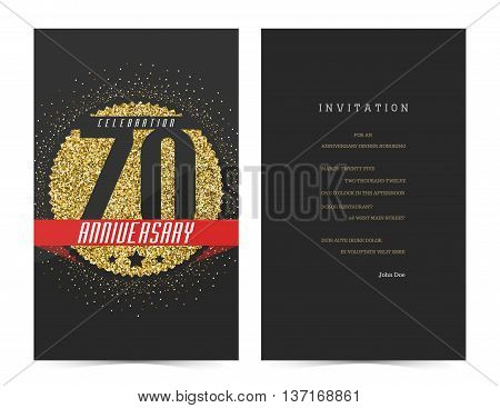 70th anniversary decorated greeting card template with gold elements.