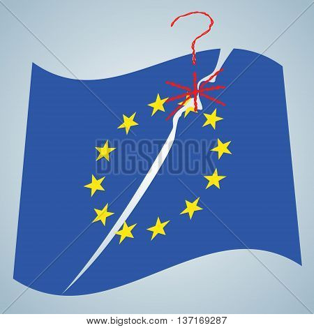 Brexit concept illustration. Vector breaking EU flag. United Kingdom leaving from EU sign