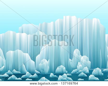 Parallax background of icebergs and sea. Vector illustration. Arctic or antarctic landscape.