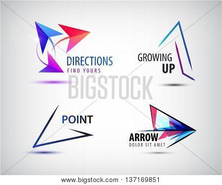 Vector set of arrow logos, pointer icons, abstract design template logotype