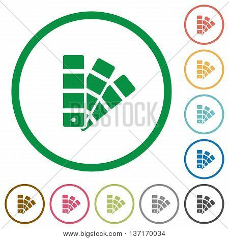 Set of Color swatch color round outlined flat icons on white background