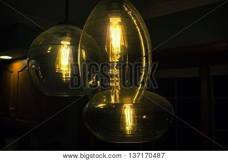 Decorative antique style light bulbs chandelier background