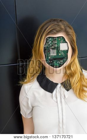 Human cyborg robot with anonymous circuit board face