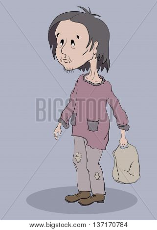 sad homeless man with a grey bag standing