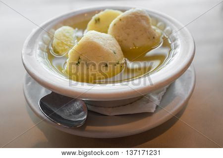 Delicious Matzoh ball soup Jewish traditional cuisine