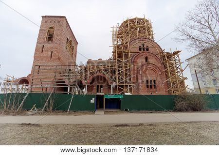Nizhny Novgorod Russia. - April 10.2016. Construction of the church in honor of St. Seraphim of Sarov on the street 50 years of Victory