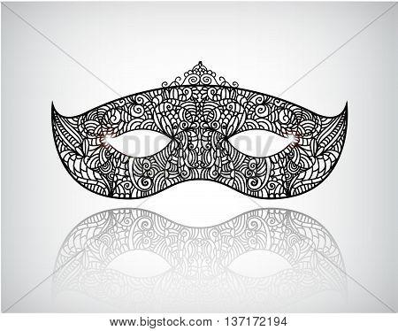 Vector hand drawn lace mask, masquerade logo, icon. Festival illustration, black and white