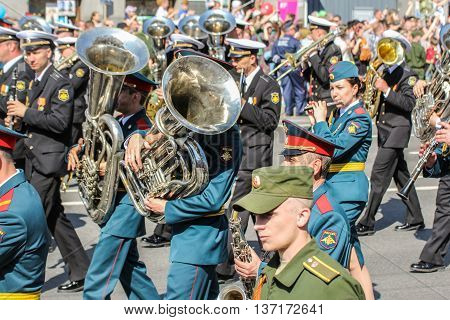 St. Petersburg, Russia - 9 May, Brass Band of the shares