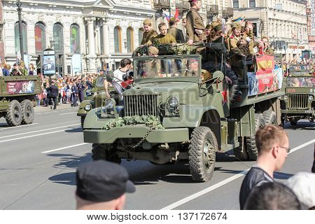 St. Petersburg, Russia - 9 May, The heavy military truck with people, 9 May, 2016. Memory Action