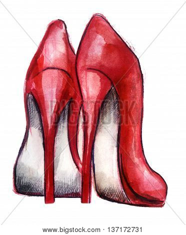 watercolor sketch: a pair of red shoes on a white background