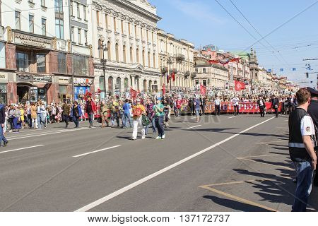 St. Petersburg, Russia - 9 May, The line of people with a banner, 9 May, 2016. Memory Action