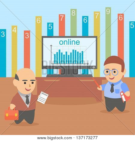 Vector clipart two businessman got online statistics about company