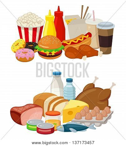 Set of cartoon food and drinks for restaurant or commercial. Fast food icons. Food and Drinks icons. Vector illustration