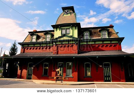 Bennington Vermont -September 18 2014: 1880 N. Bennington Railway Station with a mansard roof and clock tower *