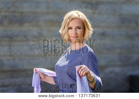 Fairy Looking Young Girl With Kerchief In Firefly Cloud